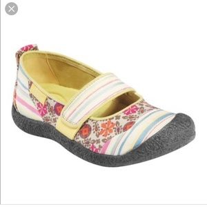 Keen Canvas Mary Janes in Harvest Floral & Stripes
